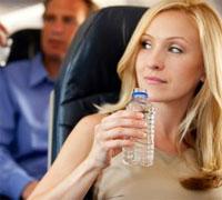 water op het vliegtuig