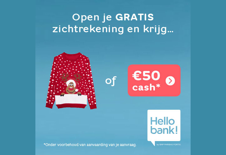 Hello Bank 50 euro cash cadeau of een hippe kersttrui