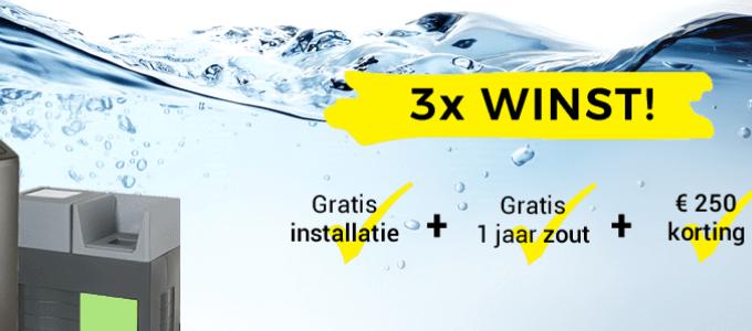 € 250 korting en 1 jaar gratis zout bij waterverzachter