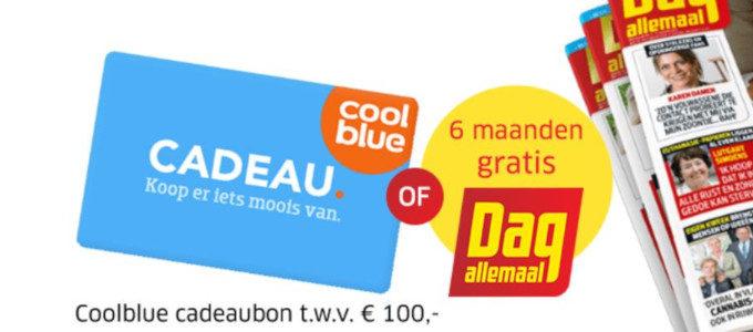 Coolblue cadeaubon t.w.v. € 100 of 6 maanden Dag Allemaal